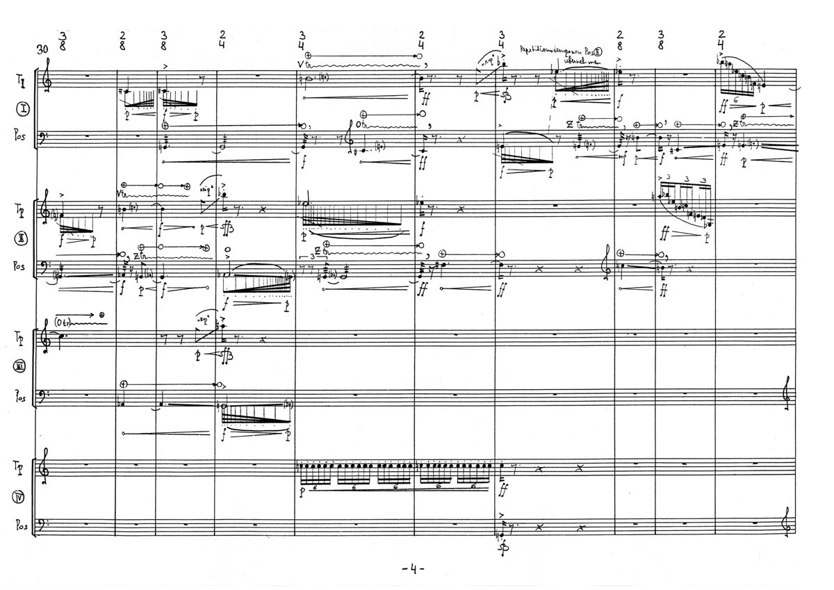 Karlheinz Essl: four2eight - score excerpt